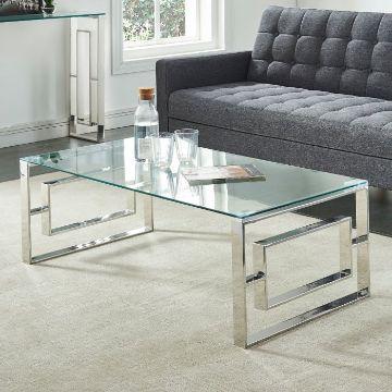 mesas de centro de sala de vidrio rectangulares