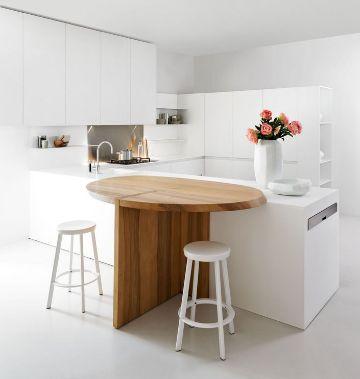 cocinas minimalistas pequeñas con muebles funcionales
