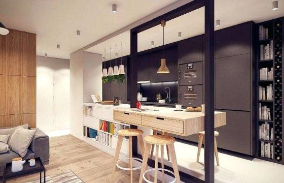 cocinas modernas con barra en casas pequeñas