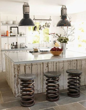 como decorar una barra de cocina moderno con toques vintage