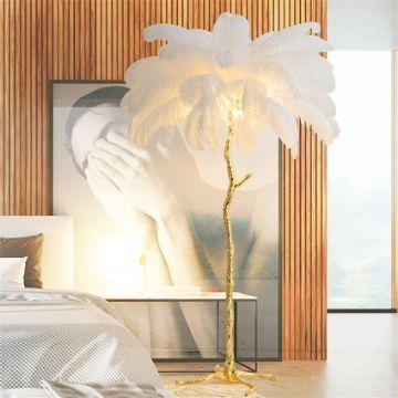 lamparas de pie para sala tipo arbol con plumas