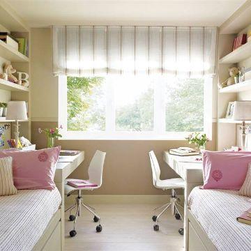 decoracion de habitacion juvenil femenina compartida
