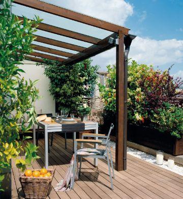 decoracion de terrazas exteriores con pergolas