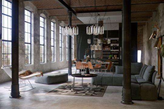 decoracion estilo industrial en construcciones loft