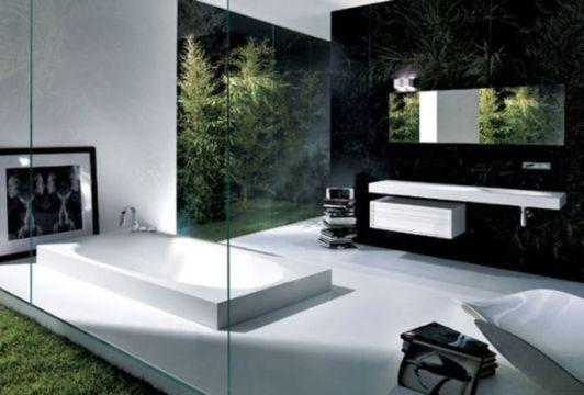 diseños de baños modernos con naturaleza