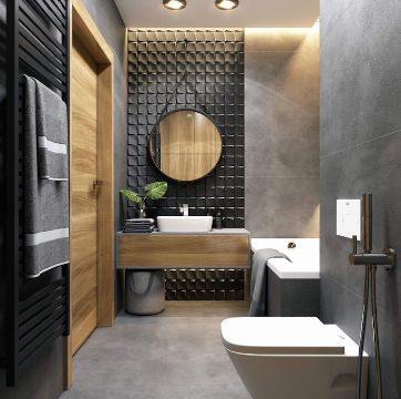 diseños de baños modernos texturas en muros