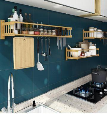 estantes de madera para cocina largos y delgados