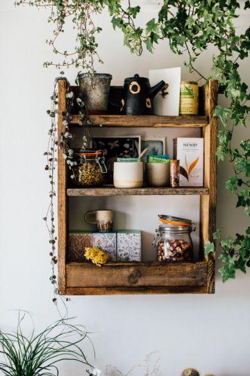 estantes de madera para cocina rusticos