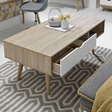 mesas de centro estilo nordico con cajones
