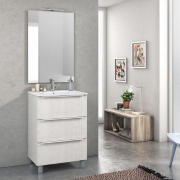 muebles de melamina para baño en tono blanco