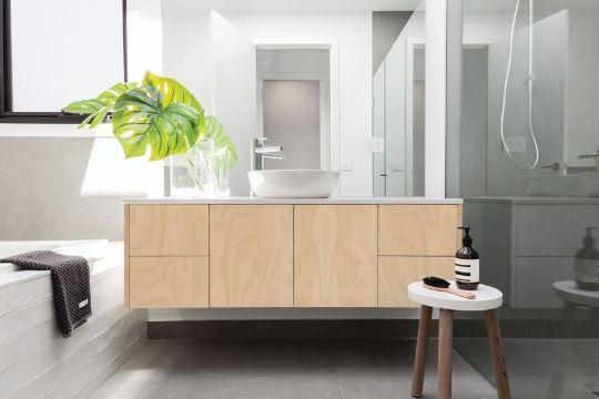 muebles de melamina para baño para espacios grandes