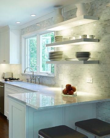 repisas para cocina modernas iluminadas