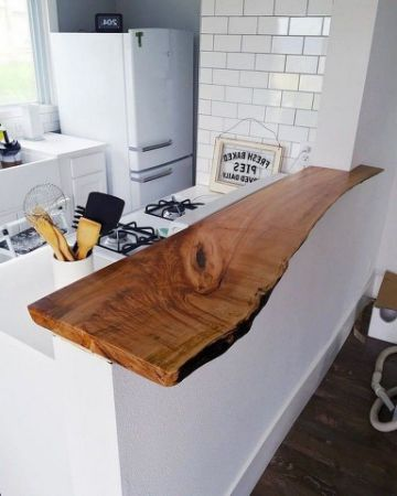 barras de cocina de madera tronco natural