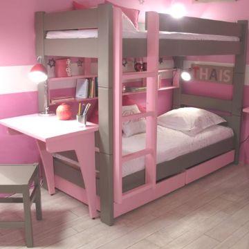 camas con escritorio para niñas de madera