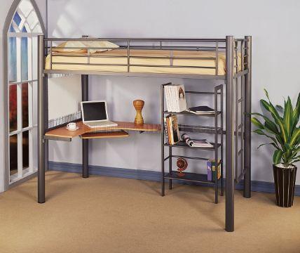 camas con escritorio para niñas de metal
