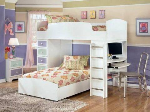 camas con escritorio para niñas para compartir