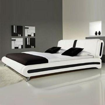 camas matrimoniales modernas blancas con vivos blancos