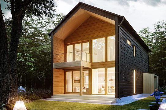 casa de dos pisos de madera elegante
