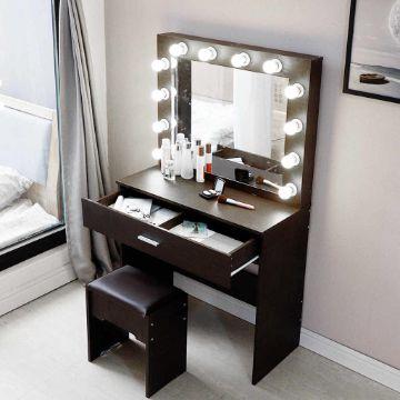 comodas de madera con espejo coqueta