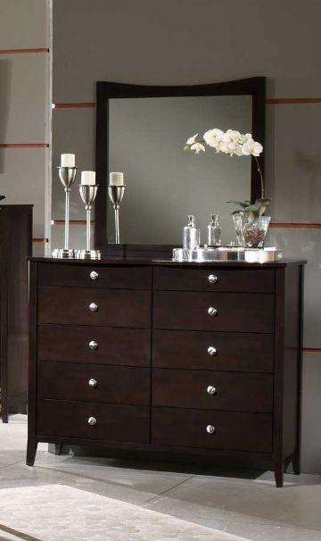 comodas de madera con espejo cuadrados