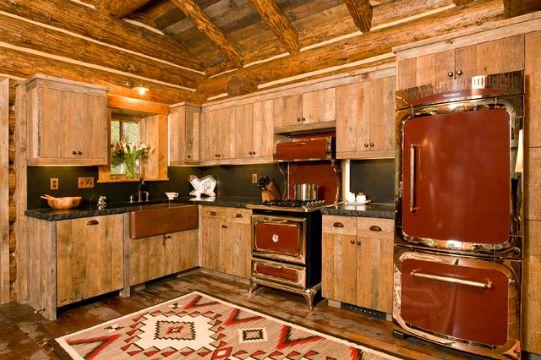 interior de cabañas rusticas cocina