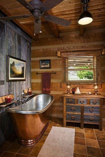 interiores de cabañas pequeñas baños con tina