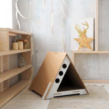 casas de carton para perros triangular