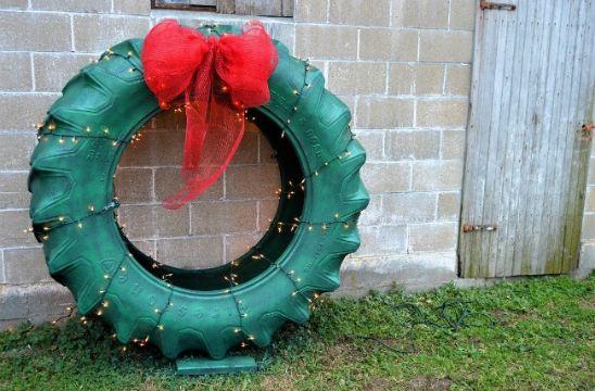 coronas navideñas recicladas llantas