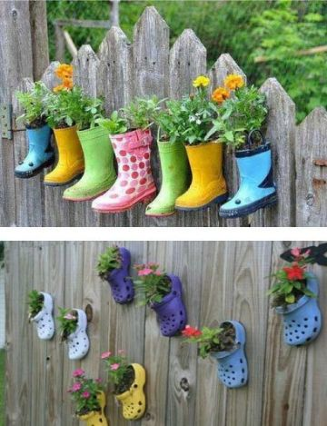 decoracion de jardines pequeños con elementos reciclados