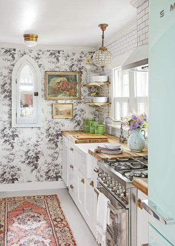 decorar la cocina pequeña tapices para la pared