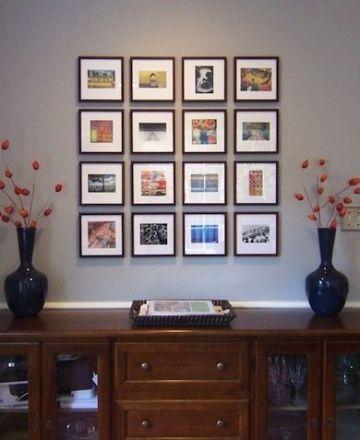 como decorar una pared con fotos con marcos tradicional