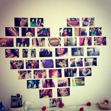 como decorar una pared con fotos corazones