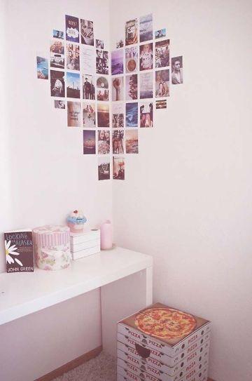 como decorar una pared con fotos formando imagenes