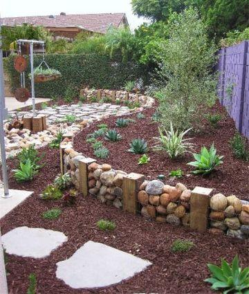 decoracion de jardines con piedras y plantas caminos