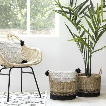 decorar cestas de mimbre con plantas y como organizadoras
