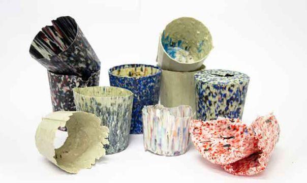 macetas de plastico reciclado modernas texturas