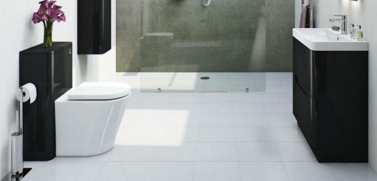 baños blanco y negro contraste
