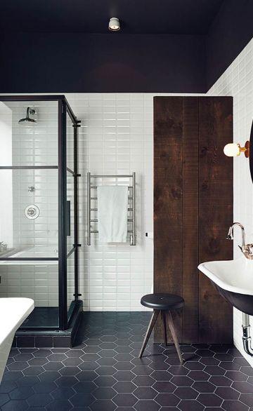baños blanco y negro pisos