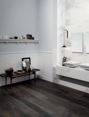 baños con piso negro duele elegante