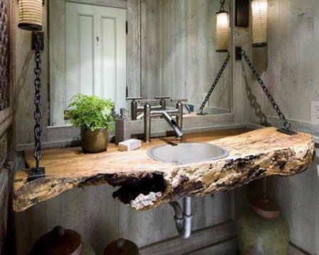 decoracion en madera para el hogar baños rusticos