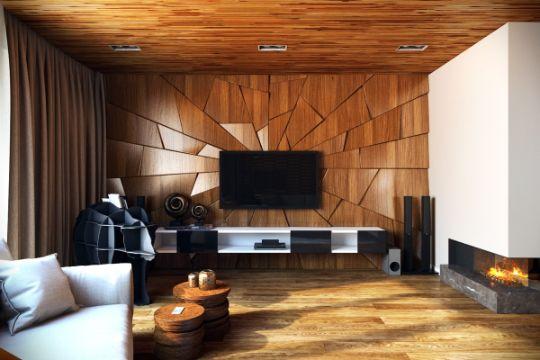 decoraciones en madera para salas en muros y techos