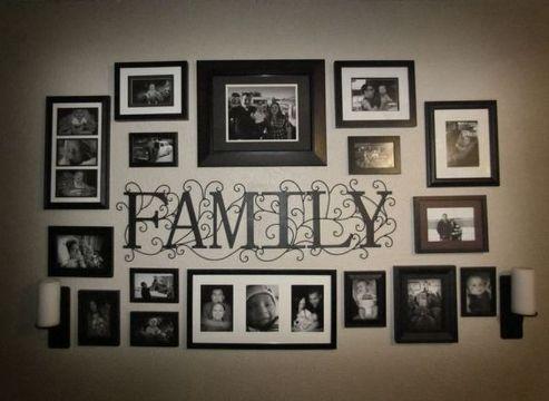 decorar pared con fotos de la familia
