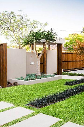 jardines pequeños para frentes de casas cesped y arboles