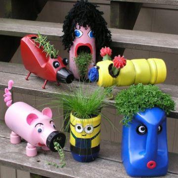 macetas de plastico decoradas haciendo figuras