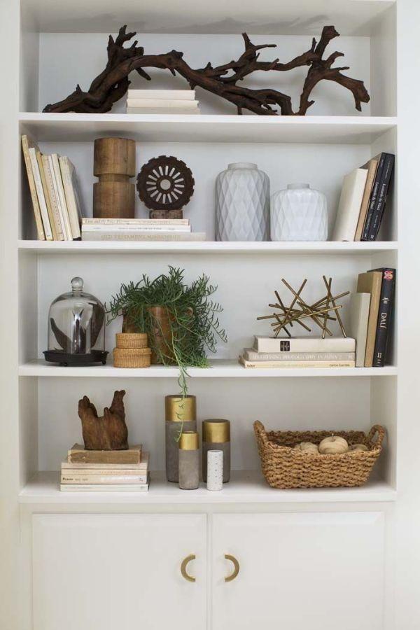 adornos para decorar estantes minimalistas y modernos