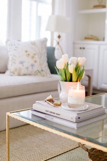 adornos para mesa de centro floreros y velas