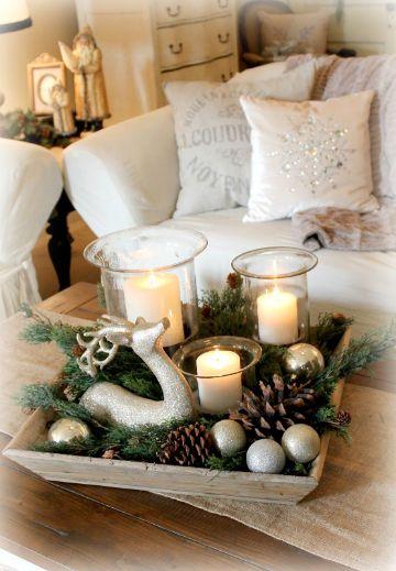 adornos para mesa de centro navideños