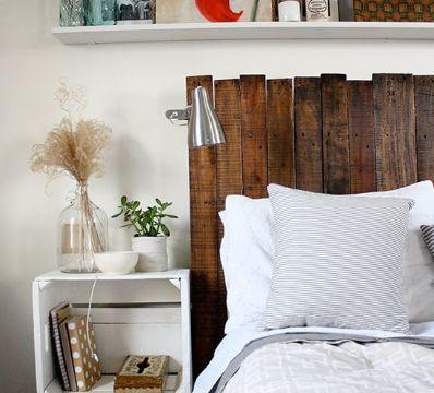 cabeceros de cama de madera reciclada