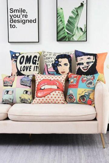 cojines decorativos para sillones arte pop