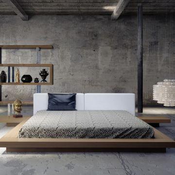 diseños de camas modernas bases a nivel de piso